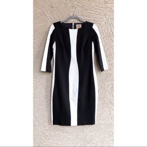 NUE BY SHANI Black White Colorblock Bodycon Dress